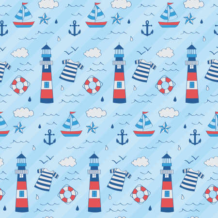 Nautical kid pattern with lighthouse, boat, star, anchor, float in seamless pattern. Stock Illustratie