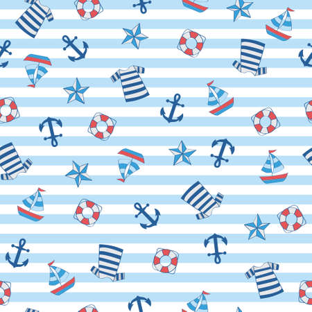 Sailor stripe nautical with boat, anchor, float, shirt in seamless pattern.