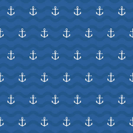 White anchor in blue wave background in seamless pattern. Ilustração