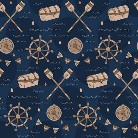 Vintage navy treasure hunt pattern with chest, compass, ship wheel in seamless pattern