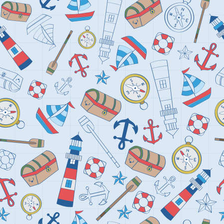 Mix pattern of chest, compass, lighthouse, anchor, boat. A playful, modern, and flexible pattern for brand who has cute and fun style. Repeated pattern. Happy, bright, and nautical mood.