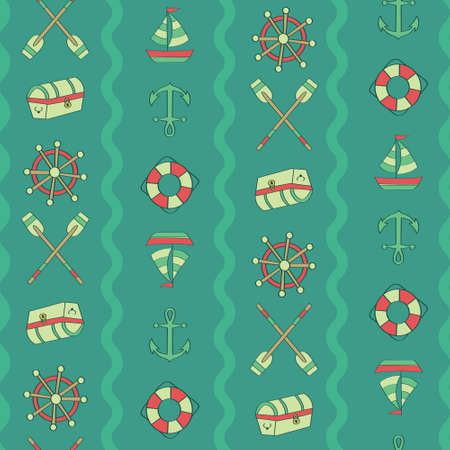 Vertical wave chest, paddle, anchor, boat, float, steering. A playful, modern, and flexible pattern for brand who has cute and fun style. Repeated pattern. Happy, bright, and nautical mood.