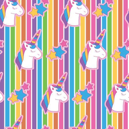Cabeza de unicornio vanguardista vibrante en el fondo del arco iris. Un patrón divertido, moderno y flexible para una marca que tiene un estilo lindo y divertido. Patrón repetido. Estado de ánimo feliz, brillante y mágico.