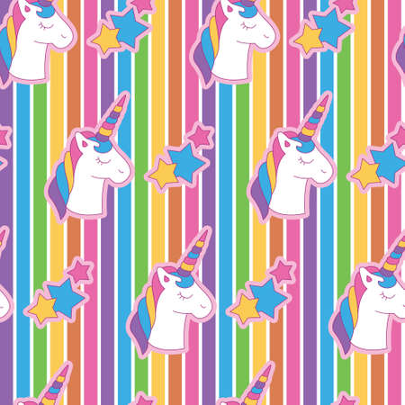 Vibrant edgy unicorn head in rainbow background. A playful, modern, and flexible pattern for brand who has cute and fun style. Repeated pattern. Happy, bright, and magical mood.