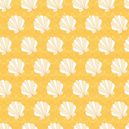 Yellow shell in wave background. A playful, modern, and flexible pattern for brand who has cute and fun style. Repeated pattern. Happy, bright, and magical mood. Illustration