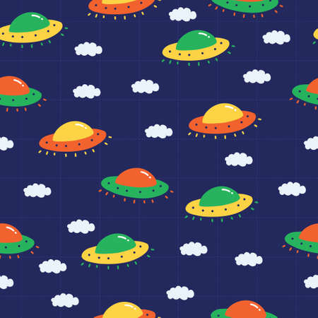 Flying ufo pattern for kids and boys. A playful, modern, and flexible pattern for brand who has cute and fun style. Repeated pattern. Happy, bright, and magical mood. Illustration