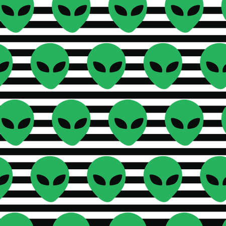 Alien head invasion in stripe background. A playful, modern, and flexible pattern for brand who has cute and fun style. Repeated pattern. Happy, bright, and magical mood.  イラスト・ベクター素材