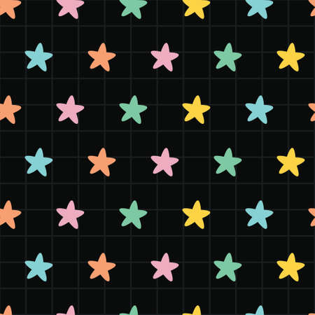 Colorful pastel star in dark square sky. A playful, modern, and flexible pattern for brand who has cute and fun style. Repeated pattern. Happy, bright, and magical mood.