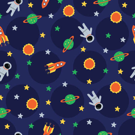 Astronaut, sun, rocket, planet in polka dots navy. A playful, modern, and flexible pattern for brand who has cute and fun style. Repeated pattern. Happy, bright, and magical mood.