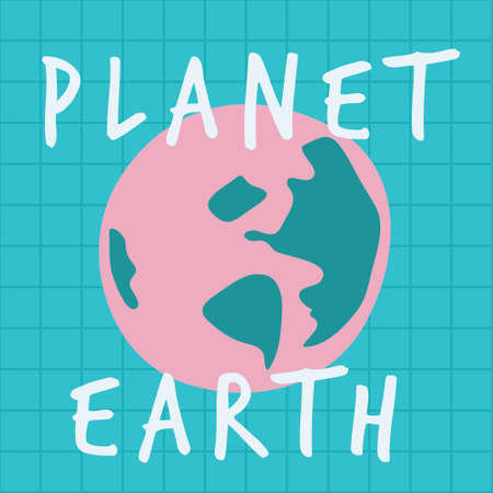 Planet earth in pink pop color. A playful, modern, and flexible print for brand who has cute and fun style. Happy, bright, and magical mood.
