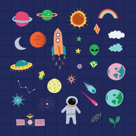 Outer space astrological graphic set. A playful, modern, and flexible print for brand who has cute and fun style. Happy, bright, and magical mood.
