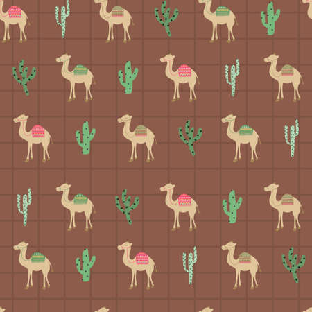 Camel, cactus in brown middle east pattern. A playful, modern, and flexible pattern for brand who has cute and fun style. Repeated pattern. Happy, bright, and magical mood.