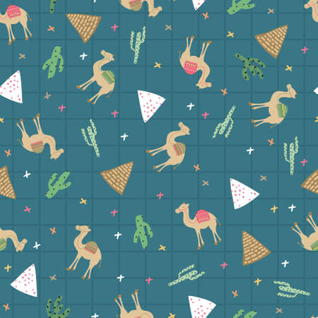 Camel, cactus, pyramid in abstract blue square. A playful, modern, and flexible pattern for brand who has cute and fun style. Repeated pattern. Happy, bright, and magical mood.