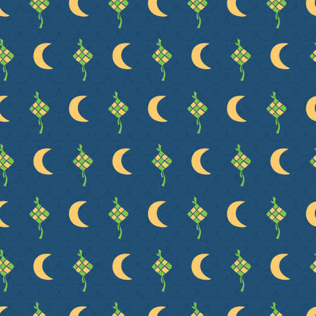 Rhombus eid, moon islamic ramadhan mubarak. A playful, modern, and flexible pattern for brand who has cute and fun style. Repeated pattern. Happy, bright, and magical mood. Illusztráció