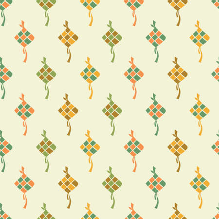 Orange, green, yellow, brown rhombus eid. A playful, modern, and flexible pattern for brand who has cute and fun style. Repeated pattern. Happy, bright, and magical mood.