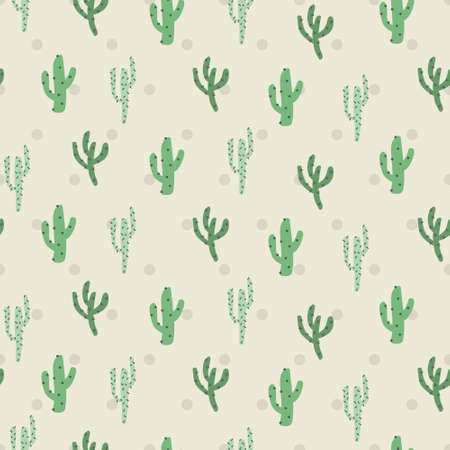 Cute nature green cactus in polka desert. A playful, modern, and flexible pattern for brand who has cute and fun style. Repeated pattern. Happy, bright, and magical mood. Ilustrace