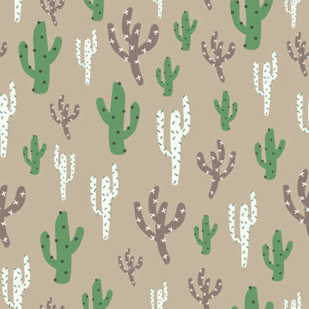 Green, brown, white nature cute cactus. A playful, modern, and flexible pattern for brand who has cute and fun style. Repeated pattern. Happy, bright, and magical mood.  イラスト・ベクター素材