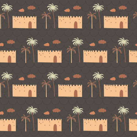 Middle east building, coconut, cloud in orange arabic. A playful, modern, and flexible pattern for brand who has cute and fun style. Repeated pattern. Happy, bright, and magical mood. Illusztráció