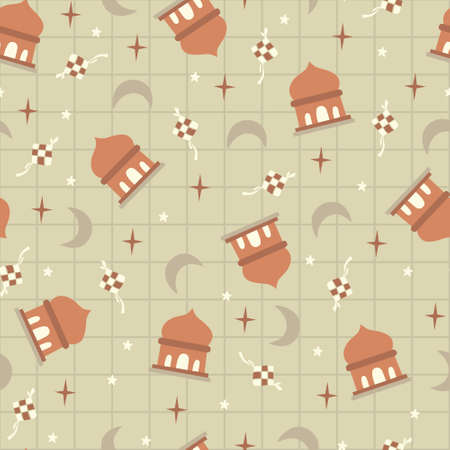 Mosque, rhombus eid, star, moon, islamic ramadhan. A playful, modern, and flexible pattern for brand who has cute and fun style. Repeated pattern. Happy, bright, and magical mood.