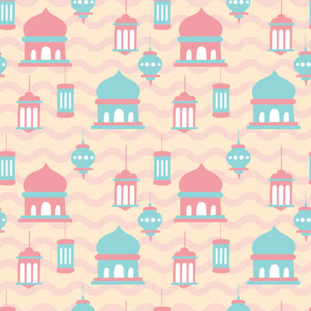 Mosque, lamp, arabic cute pop color. A playful, modern, and flexible pattern for brand who has cute and fun style. Repeated pattern. Happy, bright, and magical mood.