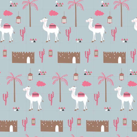 Middle east building, camel, coconut tree, cactus pop color. A playful, modern, and flexible pattern for brand who has cute and fun style. Repeated pattern. Happy, bright, and magical mood. Illusztráció