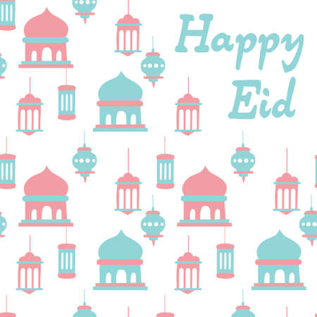 Happy eid card, mosque, lamp, arabic, pop color. A playful, modern, and flexible print for brand who has cute and fun style. Happy, bright, and magical mood.