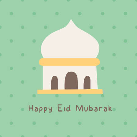 Happy eid mubarak mosque tosca print card ramadhan. A playful, modern, and flexible print for brand who has cute and fun style. Happy, bright, and magical mood. Illusztráció