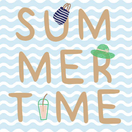 Summertime print poster with tumbler, hat, bag. A playful, modern, and flexible print for brand who has cute and fun style. Happy, bright, and nautical mood. Illustration