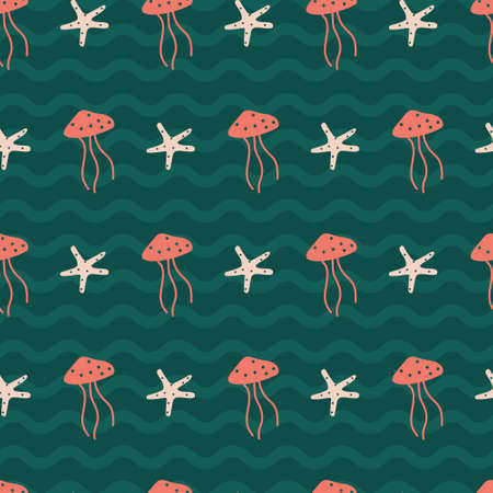 Peach jellyfish and star fish in wavy tosca green. A playful, modern, and flexible pattern for brand who has cute and fun style. Repeated pattern. Happy, bright, and nautical mood. Stock Illustratie