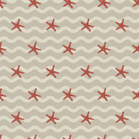 Vintage wavy brown orange star fish. A playful, modern, and flexible pattern for brand who has cute and fun style. Repeated pattern. Happy, bright, and nautical mood.