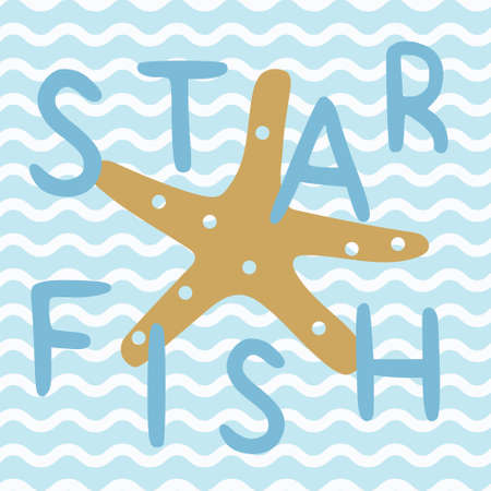 Star fish in blue nautical ocean poster. A playful, modern, and flexible print for brand who has cute and fun style. Happy, bright, and nautical mood.