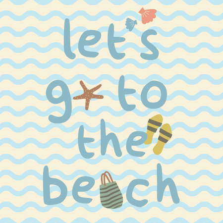 Lets go to the beach with bag, slippers, shell, starfish print poster. A playful, modern, and flexible print for brand who has cute and fun style. Happy, bright, and nautical mood.