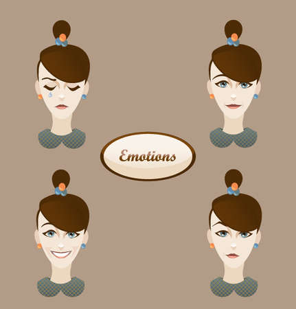 zweifel: cute girl with various emotions: sadness, smiling, laughing, doubt Illustration