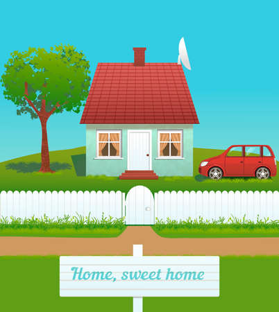 picket fence: the illustration of cute house with chimney, tiled roof, white fence and car