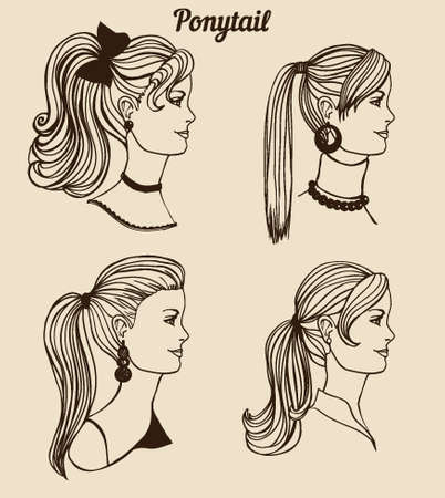 ponytail: the set of different types of ponytail Illustration