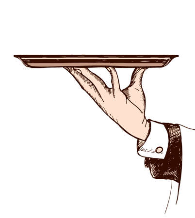 charolas: dibujado a mano ilustración de los camareros mano que sostiene una bandeja
