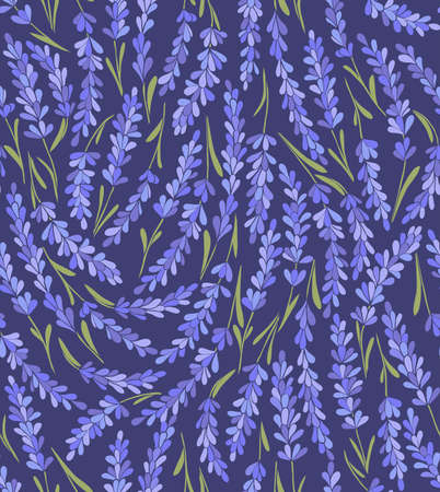vector seamless lavender dark background with green stems