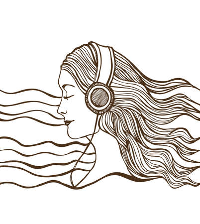 a girl with long hair listening to music
