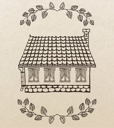 tiled: cute hand-drawn house with chimney and tiled roof