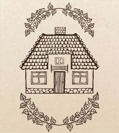 chimney:  hand-drawn house with chimney and tiled roof Illustration