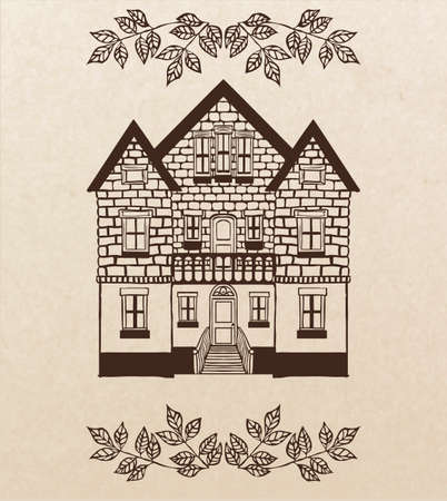 two story:  two story hand-drawn house with stairs Illustration