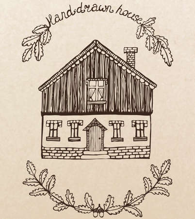 chimney: cute hand drawn house with chimney
