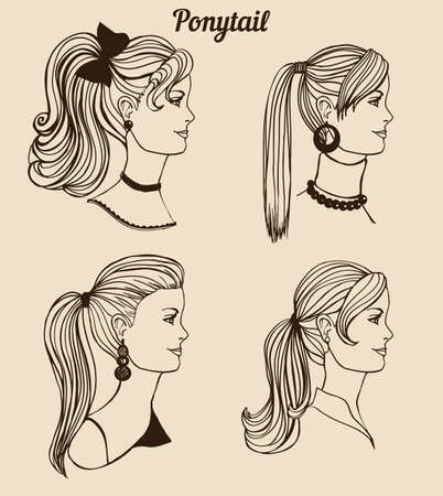 ponytail: hand-drawn set of different types of ponytail Illustration