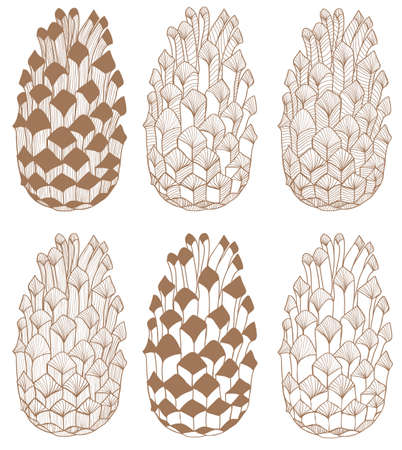 handdrawn: vector set of hand-drawn textured cones on white background