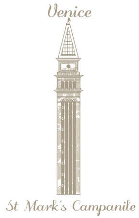 marks: vector hand-drawn illustration of St Marks Campanile