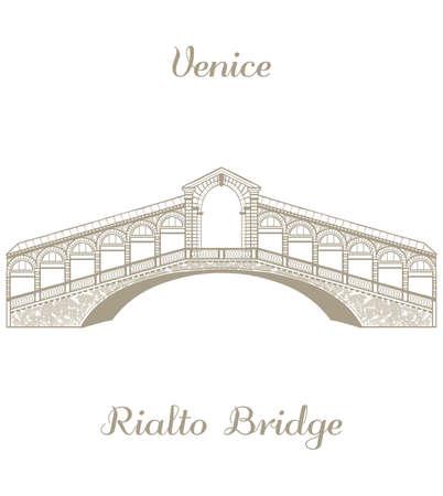 rialto: vector hand-drawn illustration of the Rialto Bridge