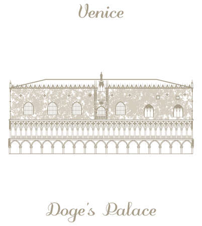 handdrawn: vector hand-drawn illustration of Doges Palace on white background Illustration