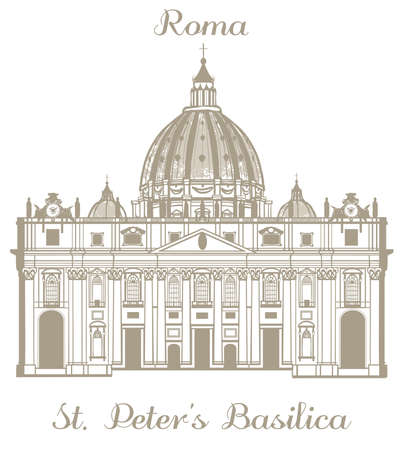 basilica: vector hand-drawn illustration of St Peters Basilica
