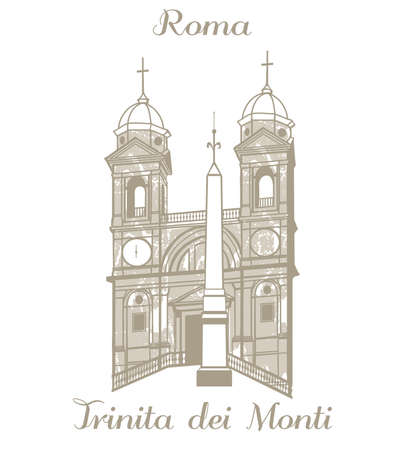 trinita: vector hand-drawn illustration of Trinita dei Monti Illustration