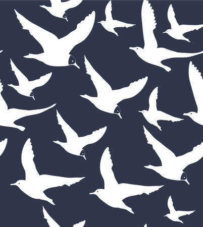vector seamless navy blue background with white seagulls